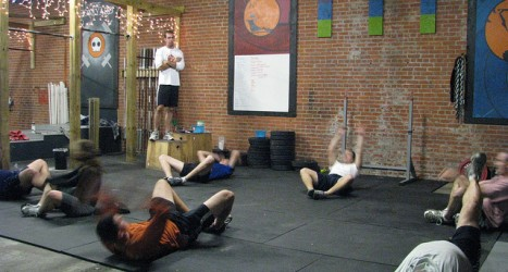 CrossFit WOD Five Rounds: - 10, 8, 6, 4, 2 Back Squat @ 3010 - 1:00 Rest - 1:00 Max Situps - 3:00 Rest Finisher - 300′ Sled Drag Endurance...